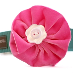 Zoe Pink Velvet Dog Collar Flower