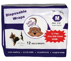 Wiki Wags™ Brand - Male Dog Disposable Wraps Med 12 Pack