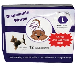 Wiki Wags™ Brand - Male Dog Disposable Wraps LG 12 Pack