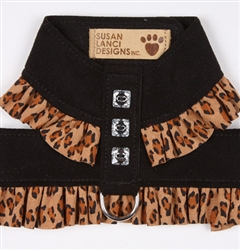 Black Pinafore Harnesses With Cheetah