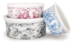 Toile Porcelain Dog Bowls