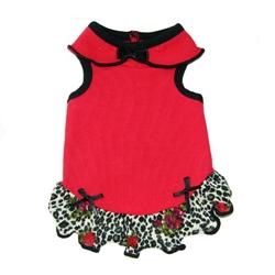 Carmen Dress - Red with Leopard Wool Crepe Ruffle