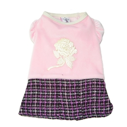 Coquette Dress - Pink Velour Puff Sleeves, Boucle Skirt