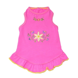 Delilah Dress - Pink w/Hand-Embroidered Flowers