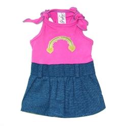 Farrah Dress - Hot Pink, Denim, Heart Rainbow