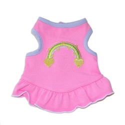 Happy Dress - Pink French Terry with Rainbow