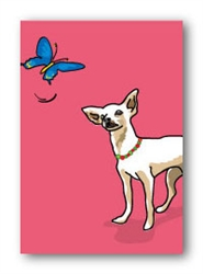Chihuahua & Butterfly - Fridge Magnet