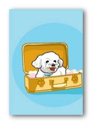 Bichon in Luggage - Fridge Magnet