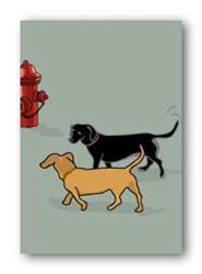 Dachshunds & Fire Hydrant - Fridge Magnet