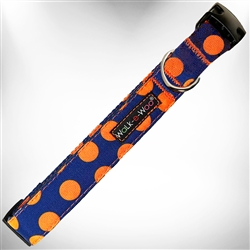 Orange Polka Dot on Blue Dog Collars and Leads