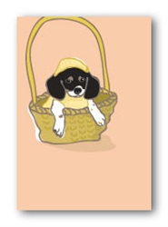 Pup in Basket - Fridge Magnet