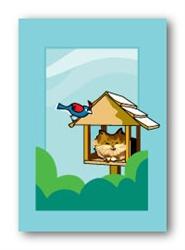 Cat in Bird Feeder - Fridge Magnet