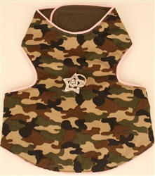 Pink trim Camo harness vest with genuine Swarovski Crystals,