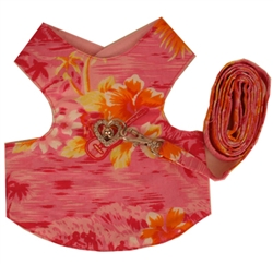 Pink Hawaiian harness vest with heart rhinestones