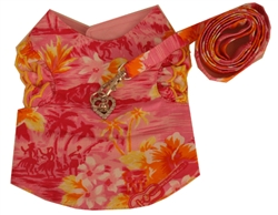 Pink Hawaiian harness vest with ruffled sleeves