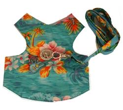 Blue Hawaiian harness vest with Swarovski rhinestones