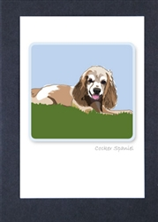 Cocker Spaniel Sitting - Grrreen Boxed Note Cards