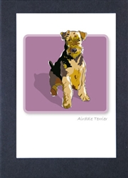 Airdale Terrier Sitting - Grrreen Boxed Note Cards