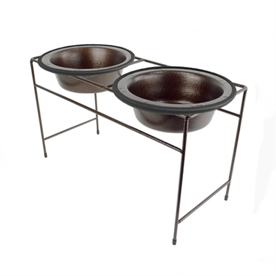 Platinum Pets Copper Vein Modern Double Diner with Two Copper Vein Rimmed Bowls