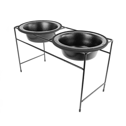 Platinum Pets Silver Vein Modern Double Diner with Two Silver Vein Rimmed Bowls