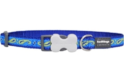 Paisley Blue with Green - Dog Collars, Leashes, & Harnesses