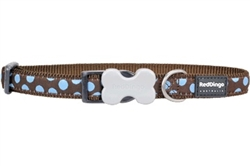Blue Spots On Brown - Dog Collars, Leashes, & Harnesses