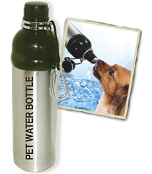 Pet Water Bottle STAINLESS STEEL & BLACK (24oz)  MASTER CASE 48        +3+0