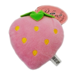Sweet Pink Strawberry Plush Toy with Squeaker by Ruff Ruff Couture®