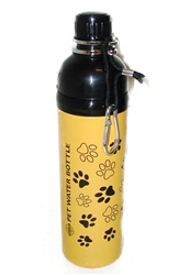 Pet Water Bottle - YELLOW PAWS (24 oz )  Case of 24