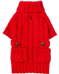 Red Pocket Cable Knit Sweater