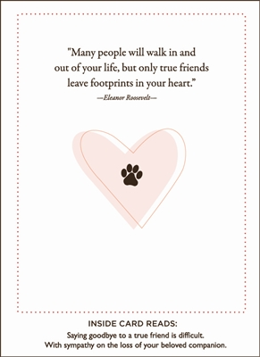 Paws of Footprints of Love Pet Sympathy Card