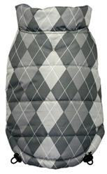 Reversible Puffer Vest - Silver Argyle