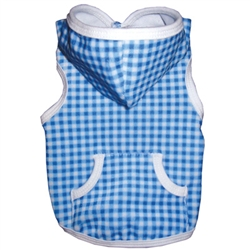 Sportie Chic Blue Gingham Hoodie by Ruff Ruff Couture®