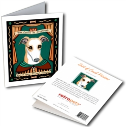 San Canine de Greyhound (Greyhound) GREETING CARD - Patron Saint of Couch Potatoes