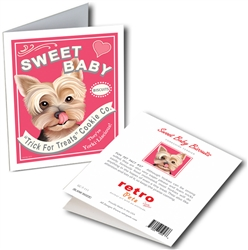 "Sweet Baby GREETING CARD (Yorkshire Terrier) ""Trick For Treats Cookie Co."""
