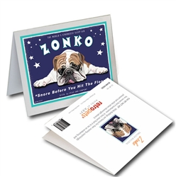 """Zonko GREETING CARD (Bulldog) """"Snore Before You Hit the Floor!"""""""
