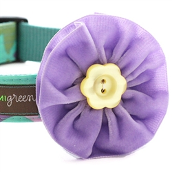 'Violet' Lanvander Velvet Dog Collar Flower