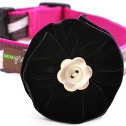 Zelda Black Velvet Dog Collar Flower
