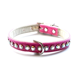 Ashley Large Crystal Vegan Dog Collar - Bubblegum