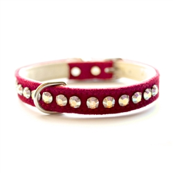 Ashley Large Crystal Vegan Dog Collar - Ultrasuede Red
