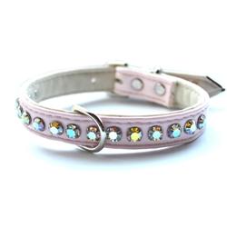 Ashley Large Swarvoski Tickled Pink Dog Collar