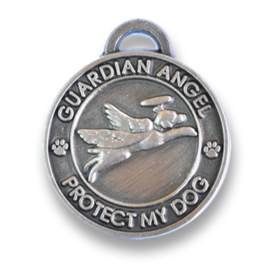 Antique Silver Guardian Angel Dog Charm