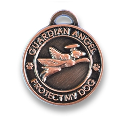 Antique copper Guardian Angel Dog Charm