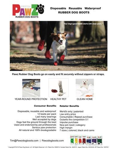 PawZ Black Rubber Dog Boots