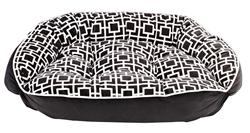 Crescent Bed Courtyard Grey Microvelvet