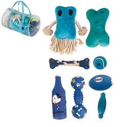 Blue Duffle Pet Toy Set