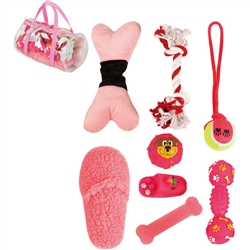 Pink Duffle Pet Toy Set