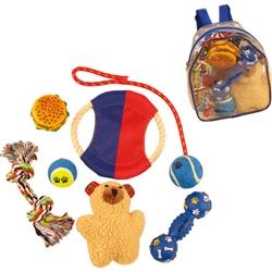 Red & Blue Backpack Pet Toy Set