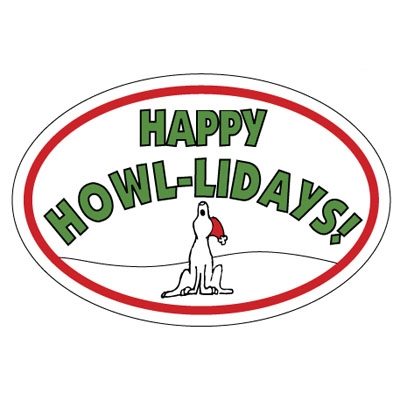 Happy Howlidays Oval Magnet Bold Font