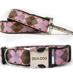 Argyle Collar & Leash Sets - Plastic/Metal Buckles